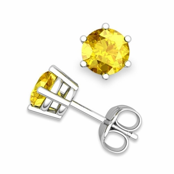 Yellow Sapphire Stud Earrings in 14k Gold 6 Prong Studs, 6mm