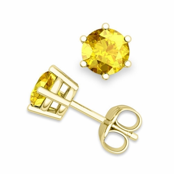 Yellow Sapphire Stud Earrings in 18k Gold 6 Prong Studs, 6mm
