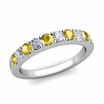 Brilliant Pave Diamond and Yellow Sapphire Wedding Ring Band in 14k Gold