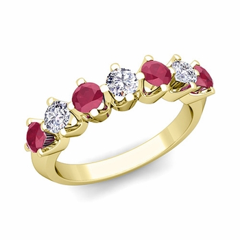 Crown Diamond and Ruby Ring in 18k Gold Knife Edge Wedding Band
