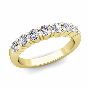 7 Stone Diamond Wedding Ring in 18k Gold 0.70 cttw