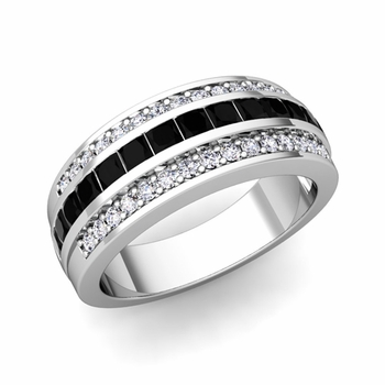 Princess Cut Black Diamond and Pave Diamond Wedding Ring in 14k Gold, 7mm