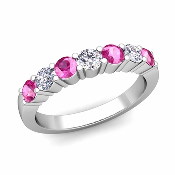 7 Stone Diamond and Pink Sapphire Wedding Ring in 14k Gold
