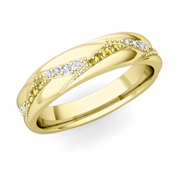 Wave Wedding Band in 18k Gold Diamond and Yellow Sapphire Ring, 5mm