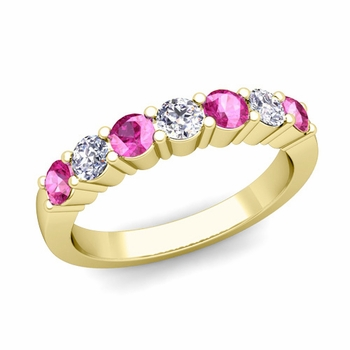 7 Stone Diamond and Pink Sapphire Wedding Ring in 18k Gold