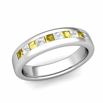 Channel Set Princess Cut Diamond and Yellow Sapphire Wedding Ring in Platinum, 4.5mm