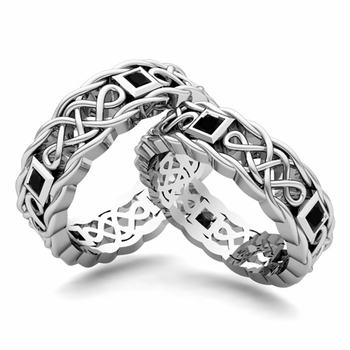 Matching Celtic Knot Wedding Band in 14k Gold Black Diamond Wedding Ring
