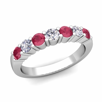 7 Stone Diamond and Ruby Wedding Ring in 14k Gold
