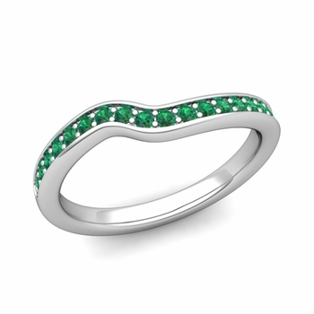 Petite Curved Emerald Wedding Band Ring in Platinum