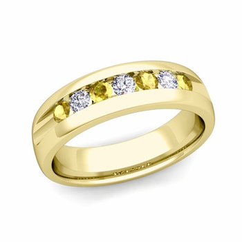 Channel Set Diamond and Yellow Sapphire Mens Wedding Band in 18k Gold, 6mm