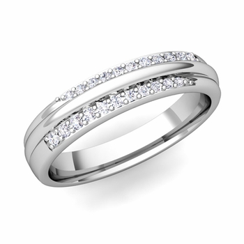 Brilliant Pave Diamond Wedding Ring in 14k Gold, 3.5mm