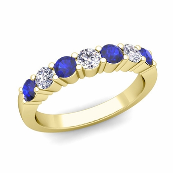 7 Stone Diamond and Sapphire Wedding Ring in 18k Gold