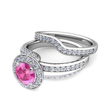 Wave Diamond and Pink Sapphire Engagement Ring Bridal Set in 14k Gold, 7mm