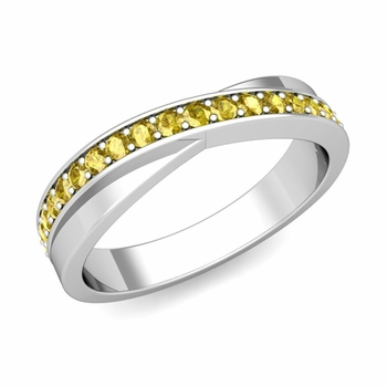Infinity Yellow Sapphire Wedding Ring Band in Platinum, 3.8mm