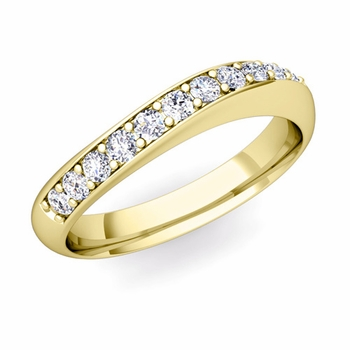 Curved Diamond Wedding Ring in 18k Gold, 4mm