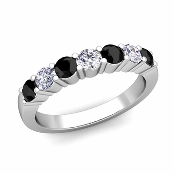 7 Stone Black and White Diamond Wedding Ring in 14k Gold