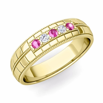 Pink Sapphire and Diamond Mens Wedding Band in 18k Gold 5 Stone Ring, 5mm