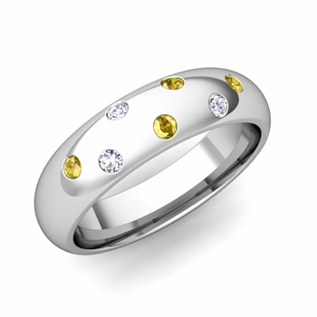 Comfort Fit Scattered Yellow Sapphire and Diamond Wedding Band in Platinum, 5mm