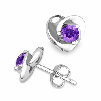Petal Heart Amethyst Stud Earrings in 14k Gold, 4x4mm
