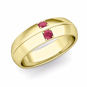 Mens Comfort Fit Ruby Wedding Band Ring in 18k Gold, 6mm