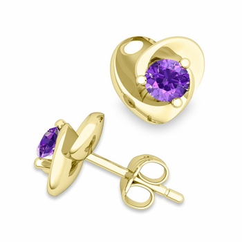 Petal Heart Amethyst Stud Earrings in 18k Gold, 4x4mm