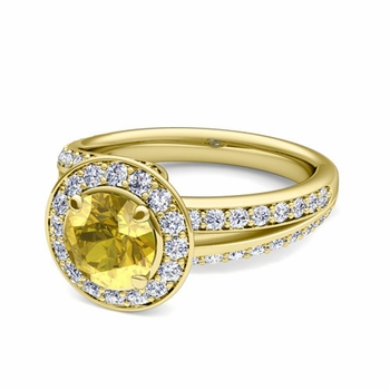 Wave Diamond and Yellow Sapphire Halo Engagement Ring in 18k Gold, 7mm