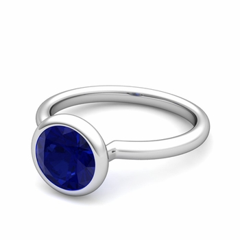 Bezel Set Solitaire Blue Sapphire Ring in 14k Gold, 7mm