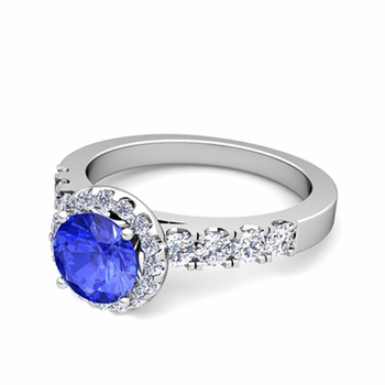 Brilliant Pave Set Diamond and Ceylon Sapphire Halo Engagement Ring in 14k Gold, 7mm