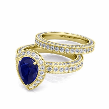 Milgrain Pear Shaped Sapphire Engagement Ring Bridal Set in 18k Gold, 7x5mm