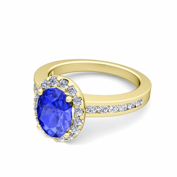 Diamond and Ceylon Sapphire Halo Engagement Ring in 18k Gold Channel Set Ring, 8x6mm