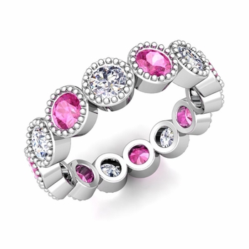 Milgrain Pink Sapphire and Diamond Eternity Band in 14k Gold 1.90 cttw