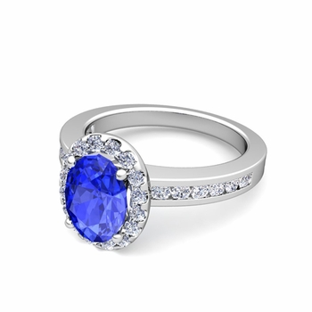 Diamond and Ceylon Sapphire Halo Engagement Ring in Platinum Channel Set Ring, 8x6mm