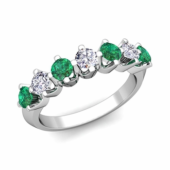Crown Diamond and Emerald Ring in Platinum Knife Edge Wedding Band