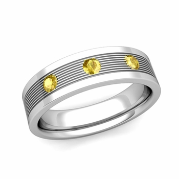 3 Stone Yellow Sapphire Mens Wedding Band in 14k Gold Comfort Fit Ring, 5mm