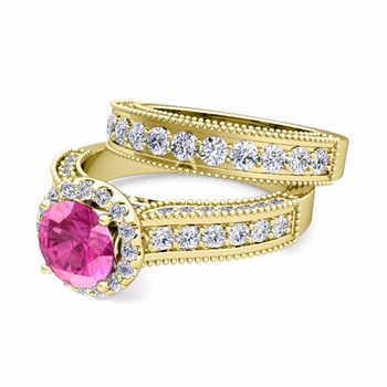 Bridal Set of Heirloom Diamond and Pink Sapphire Engagement Wedding Ring in 18k Gold, 7mm