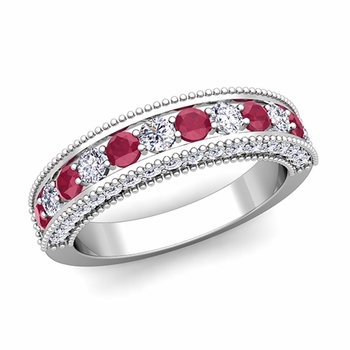 Vintage Inspired Ruby and Diamond Wedding Ring Band in 14k Gold
