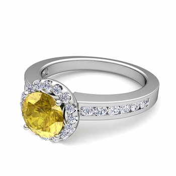 Diamond and Yellow Sapphire Halo Engagement Ring in Platinum Channel Set Ring, 7mm