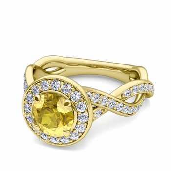 Infinity Diamond and Yellow Sapphire Halo Engagement Ring in 18k Gold, 7mm