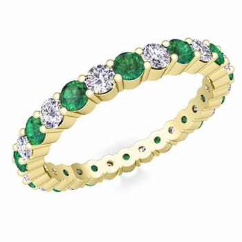 Pave Diamond and Emerald Eternity Band in 18k Gold
