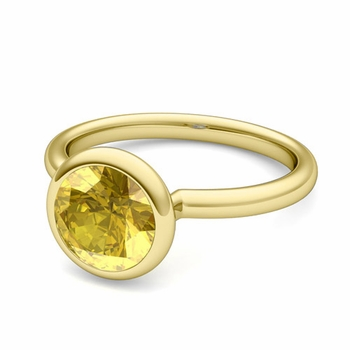 Bezel Set Solitaire Yellow Sapphire Ring in 18k Gold, 7mm