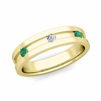 3 Stone Diamond and Emerald Mens Wedding Ring in 18k Gold Comfort Fit Ring, 5mm