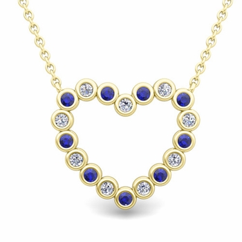 Bezel Diamond and Sapphire Heart Necklace in 18k Gold Pendant