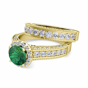 Bridal Set of Heirloom Diamond and Emerald Engagement Wedding Ring in 18k Gold, 7mm