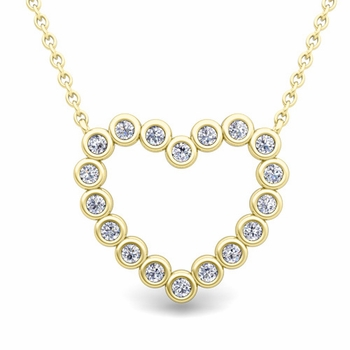 Bezel Diamond Heart Necklace in 18k Gold Pendant