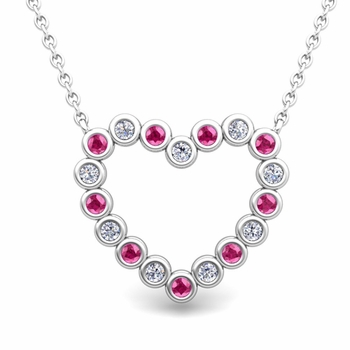 Bezel Diamond and Pink Sapphire Heart Necklace in 14k Gold Pendant