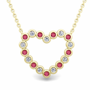 Bezel Diamond and Ruby Heart Necklace in 18k Gold Pendant