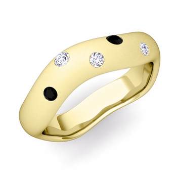 Curved Black and White Diamond Wedding Ring in 18k Gold, Satin Finish, 5mm