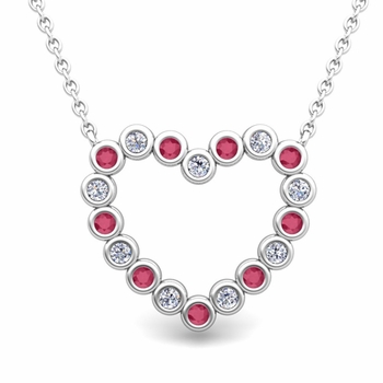Bezel Diamond and Ruby Heart Necklace in 14k Gold Pendant