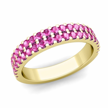 Two Row Diamond and Pink Sapphire Wedding Ring Band in 18k Gold