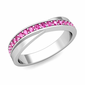 Infinity Pink Sapphire Wedding Ring Band in Platinum, 3.8mm